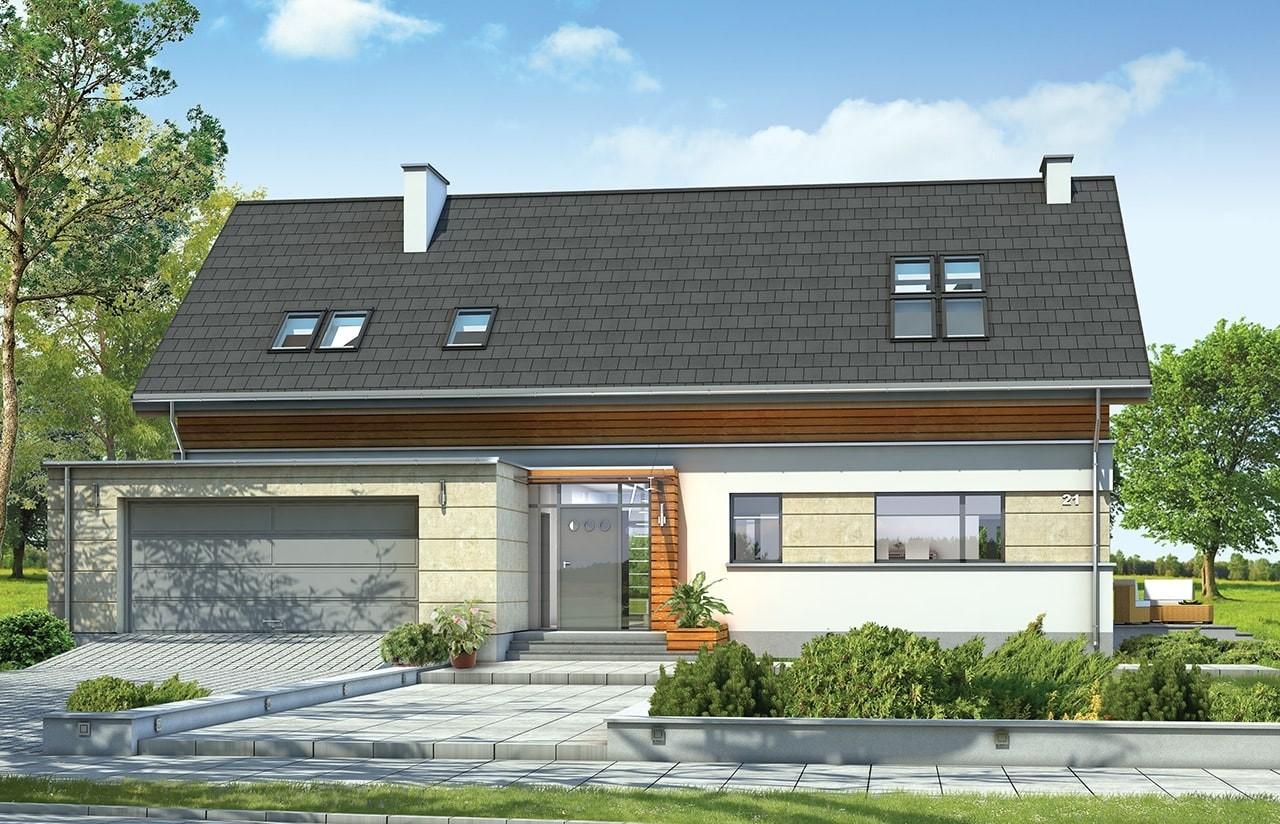 Projekt domu Gala - wizualizacja frontu
