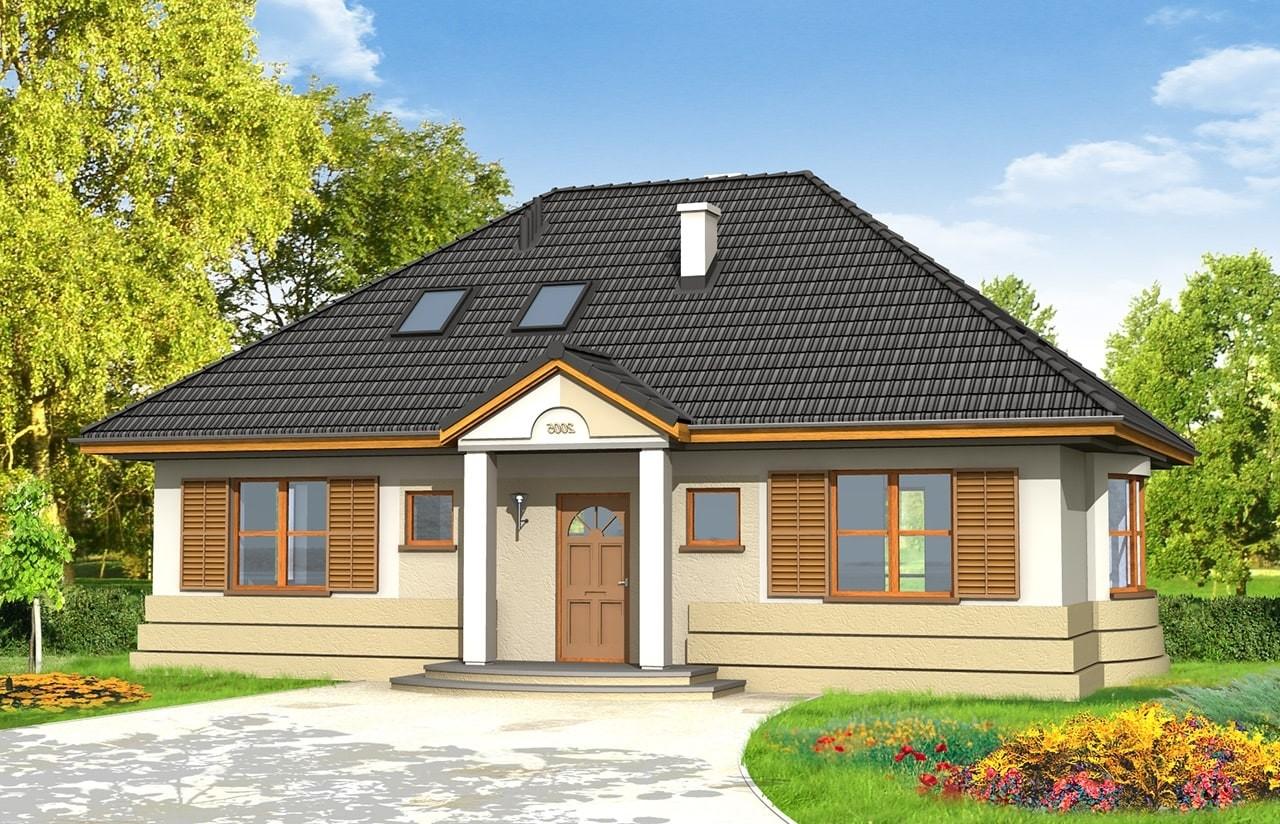Projekt domu Gargamel - wizualizacja frontowa odbicie lustrzane