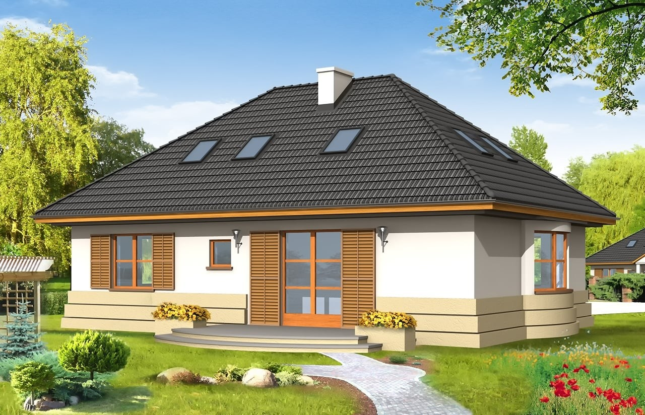 Projekt domu Gargamel - wizualizacja tylna