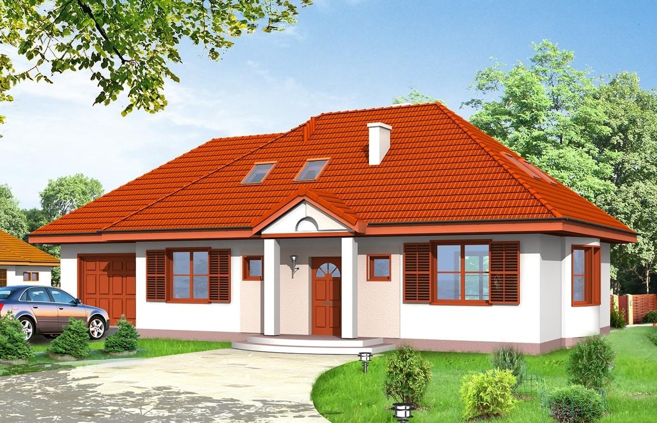 Projekt domu Gargamel z garażem - wizualizacja frontu odbicie lustrzane