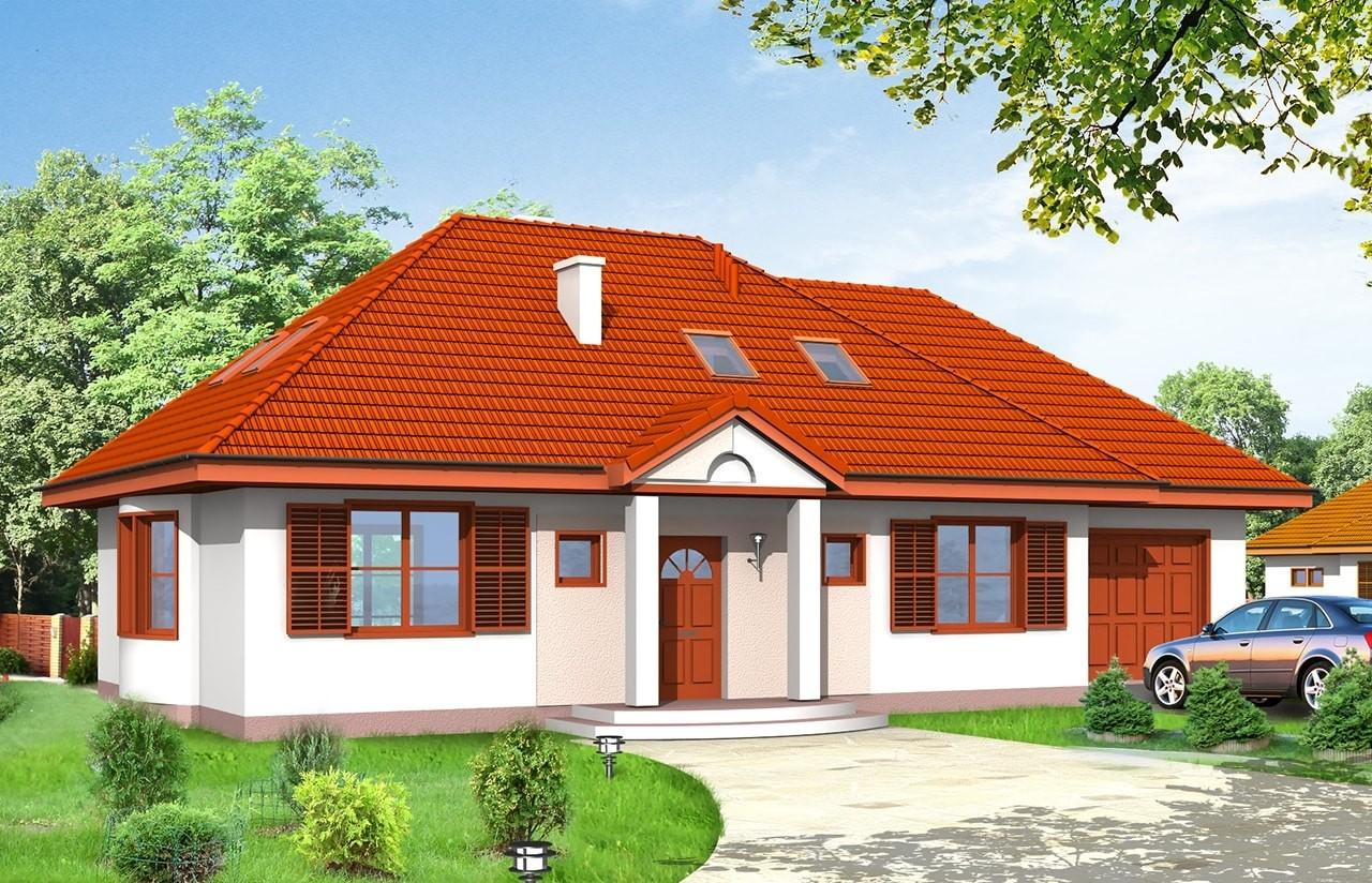Projekt domu Gargamel z garażem - wizualizacja frontu
