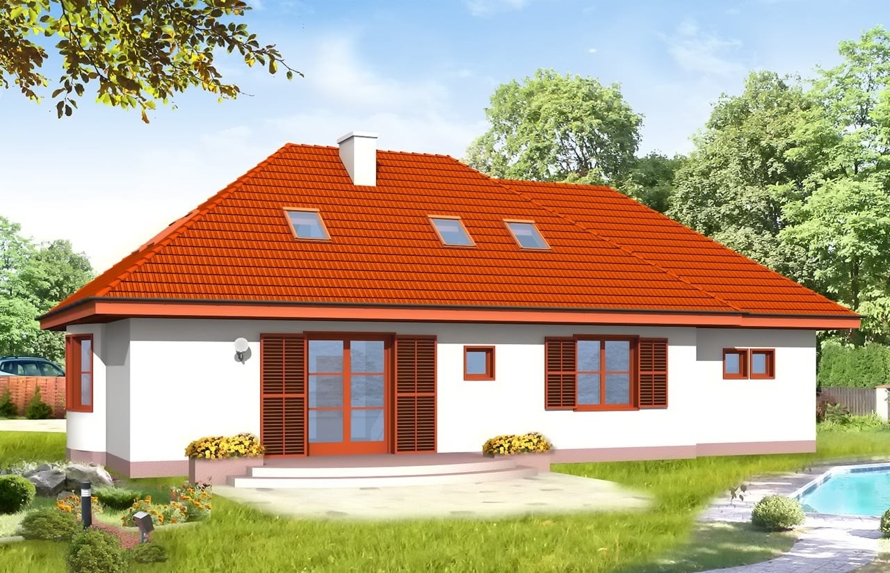 Projekt domu Gargamel z garażem - wizualizacja tylna odbicie lustrzane