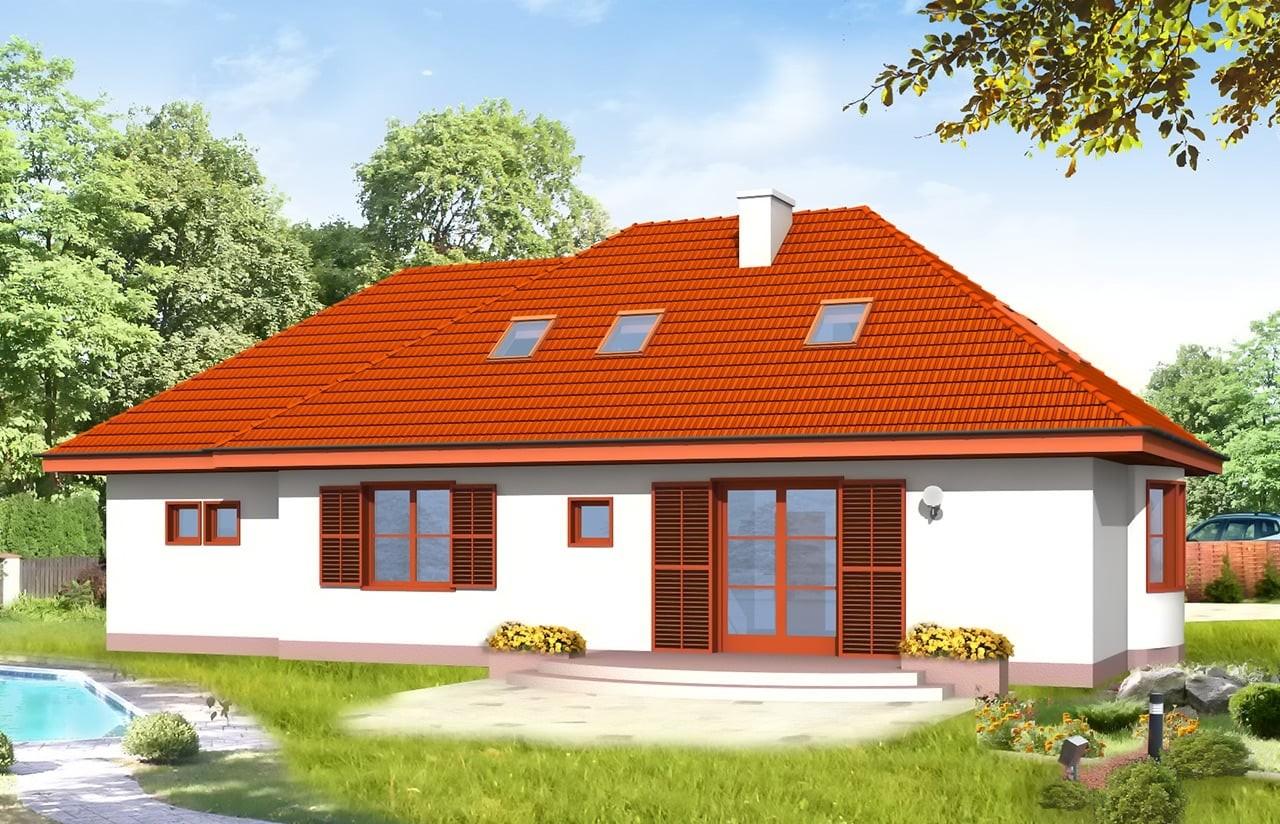 Projekt domu Gargamel z garażem - wizualizacja tylna