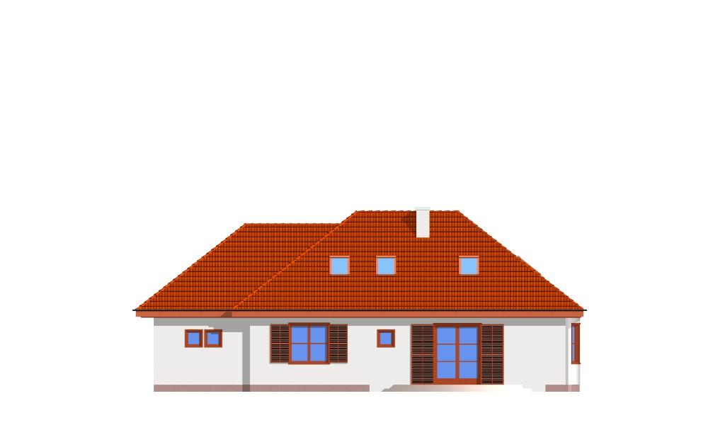 Gargamel z garażem - elewacja tylna