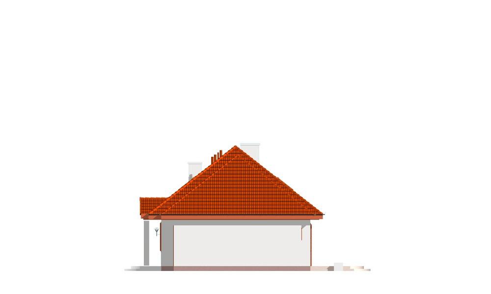 Gargamel z garażem - elewacja boczna