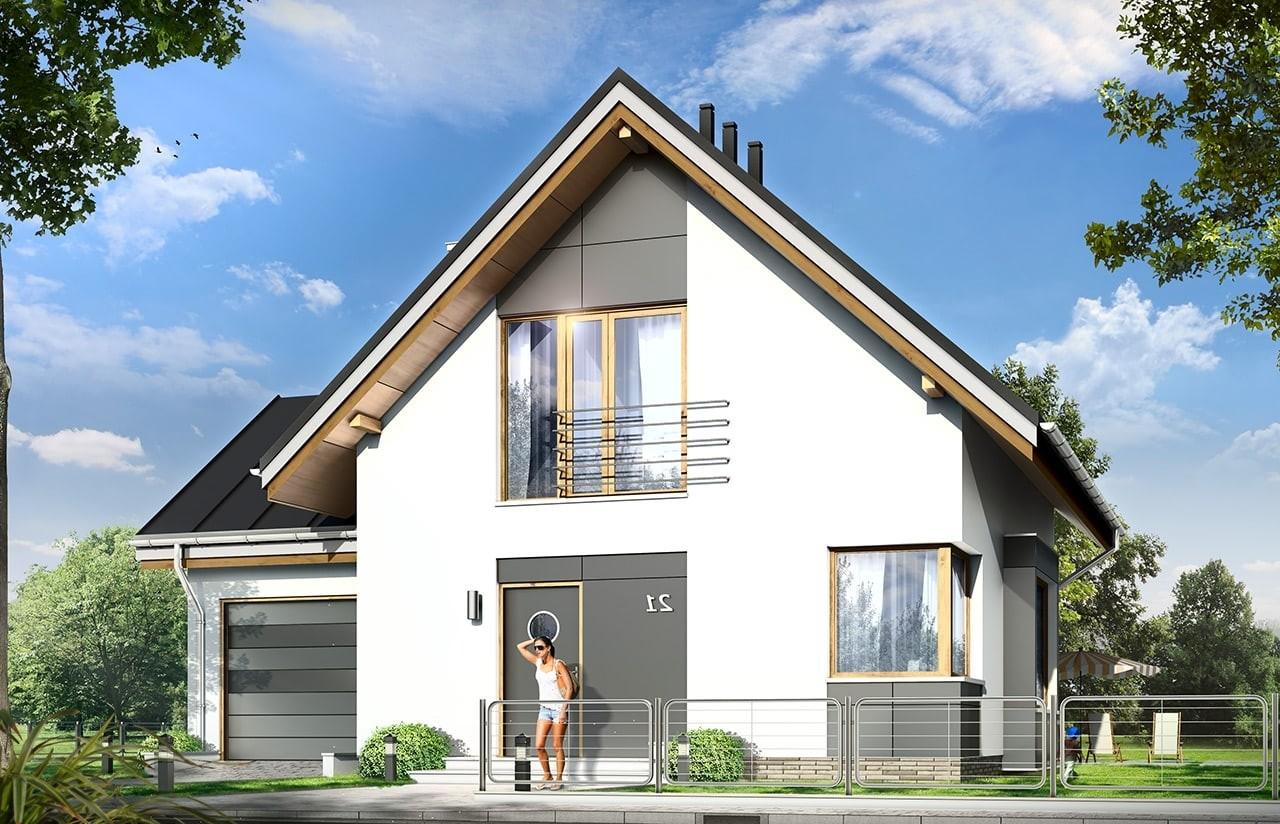 Projekt domu Gucio 2 - wizualizacja frontowa odbicie lustrzane