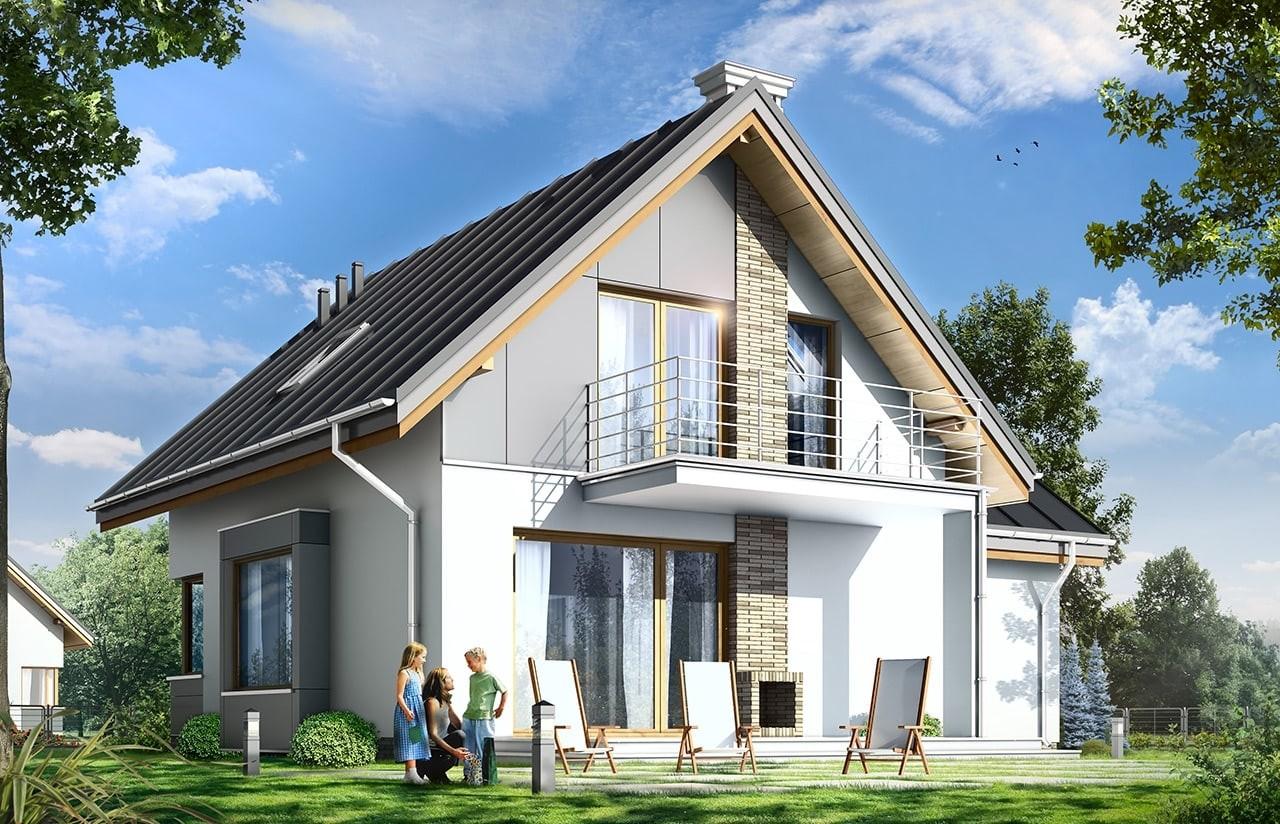 Projekt domu Gucio 2 - wizualizacja tylna odbicie lustrzane