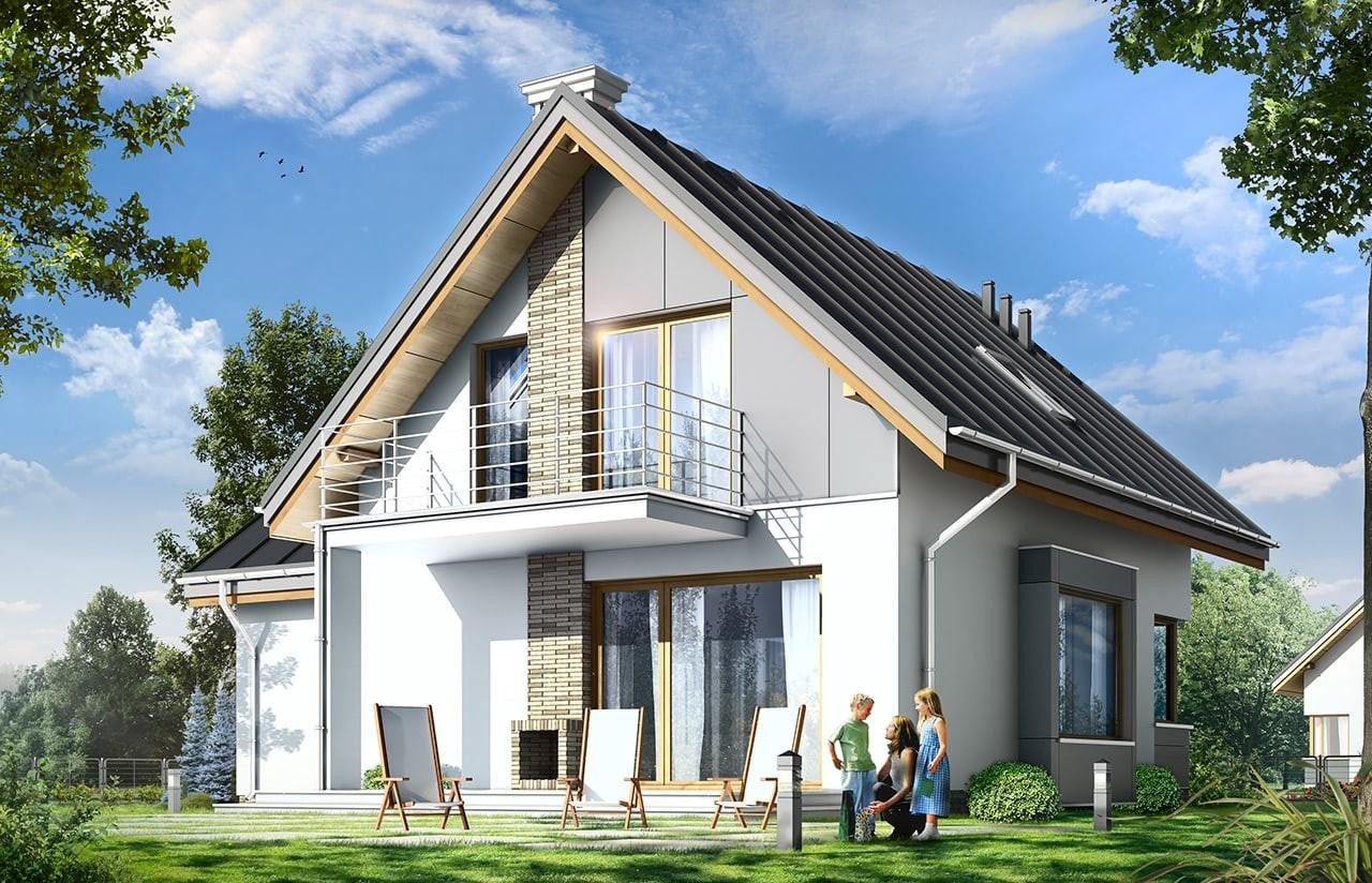 Projekt domu Gucio 2 - wizualizacja tylna