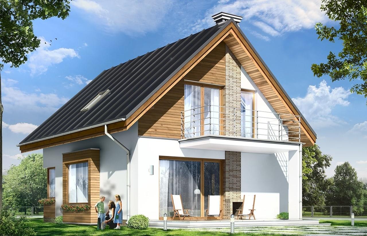 Projekt domu Gucio - wizualizacja tylna odbicie lustrzane