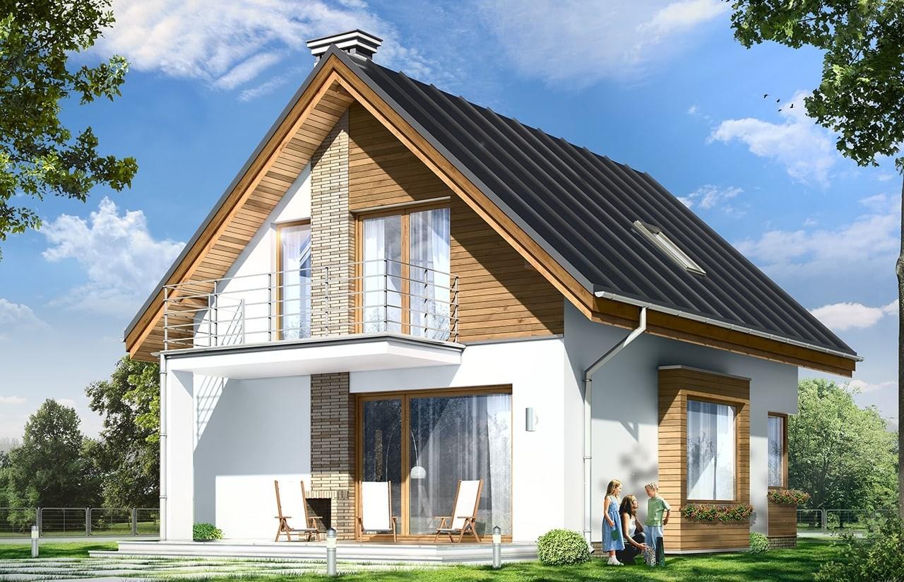 Projekt domu Gucio - wizualizacja tylna