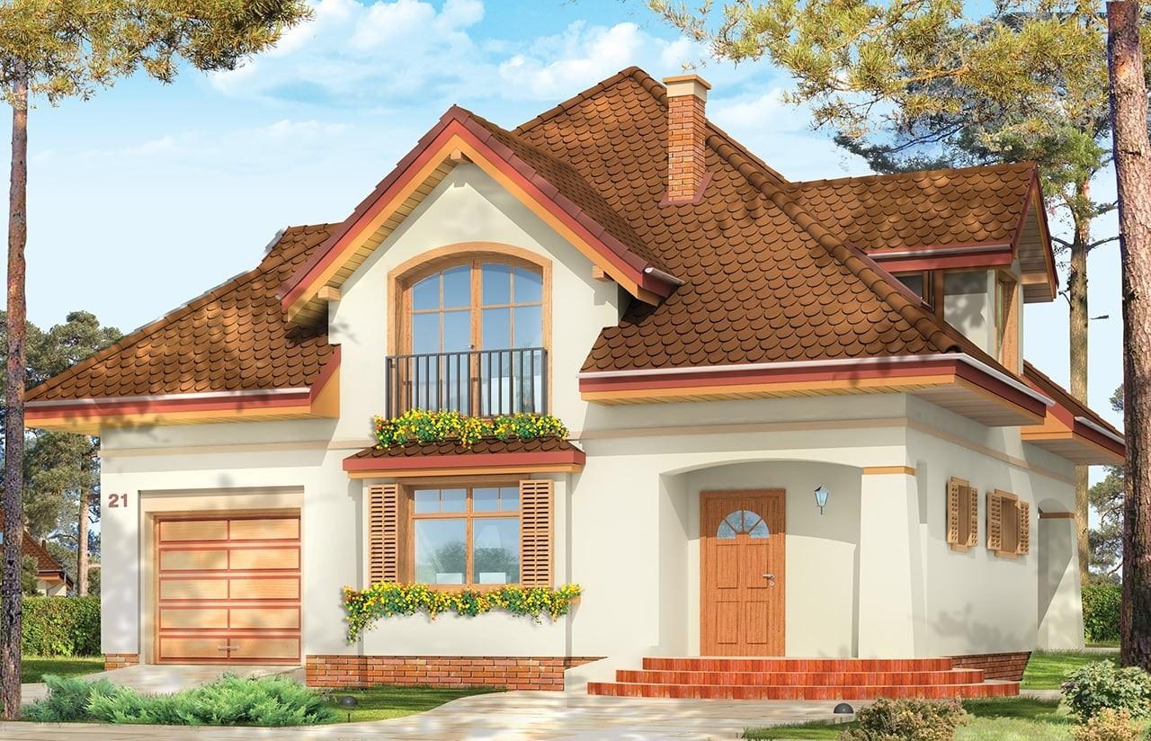 Projekt domu Gwiazda - wizualizacja frontowa