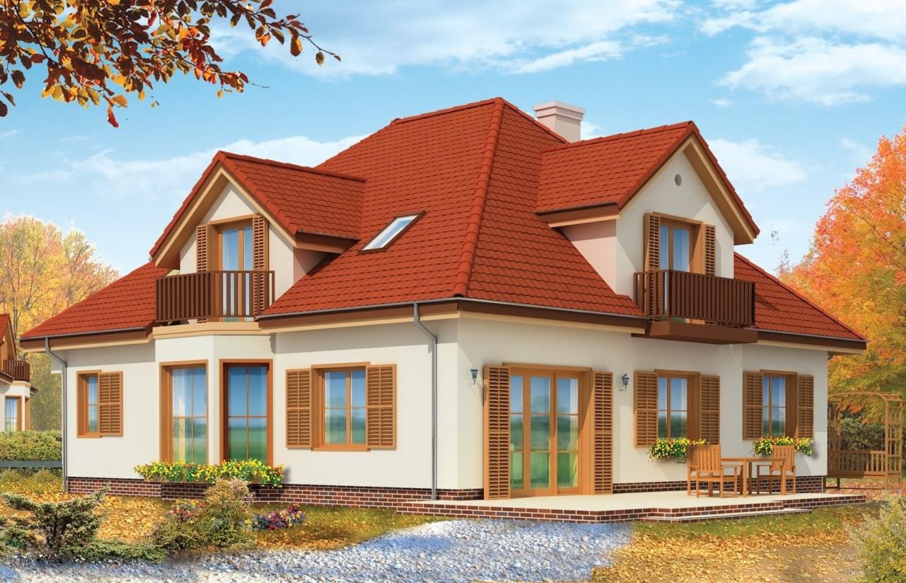 Projekt domu Hornówek 2 - wizualizacja tylna odbicie lustrzane