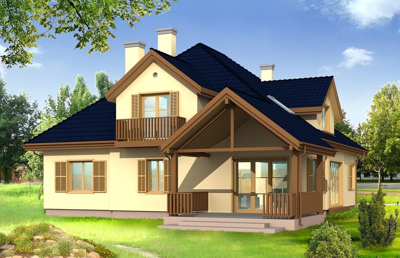 Projekt domu Hornówek - wizualizacja tylna odbicie lustrzane