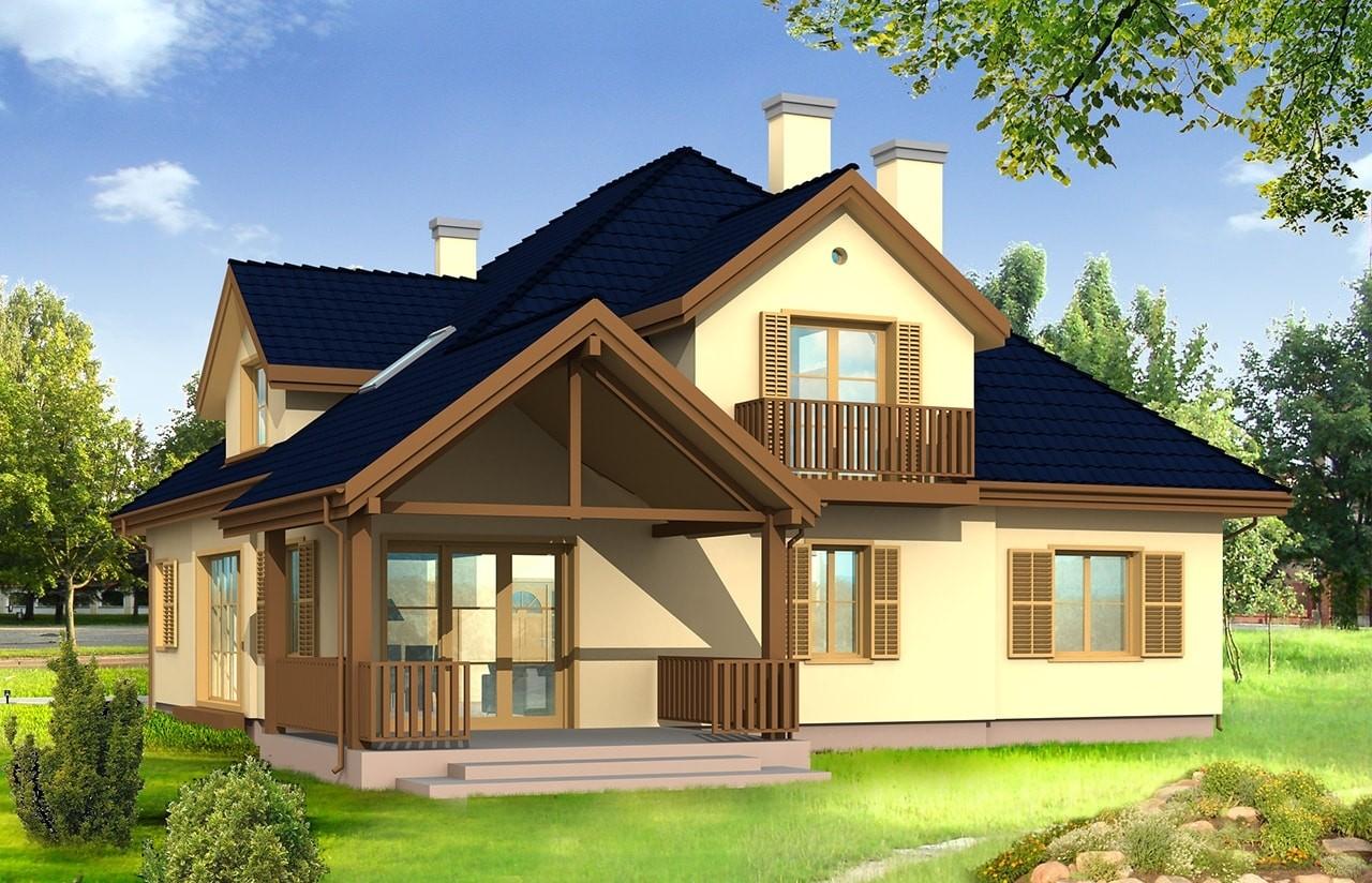 Projekt domu Hornówek - wizualizacja tylna