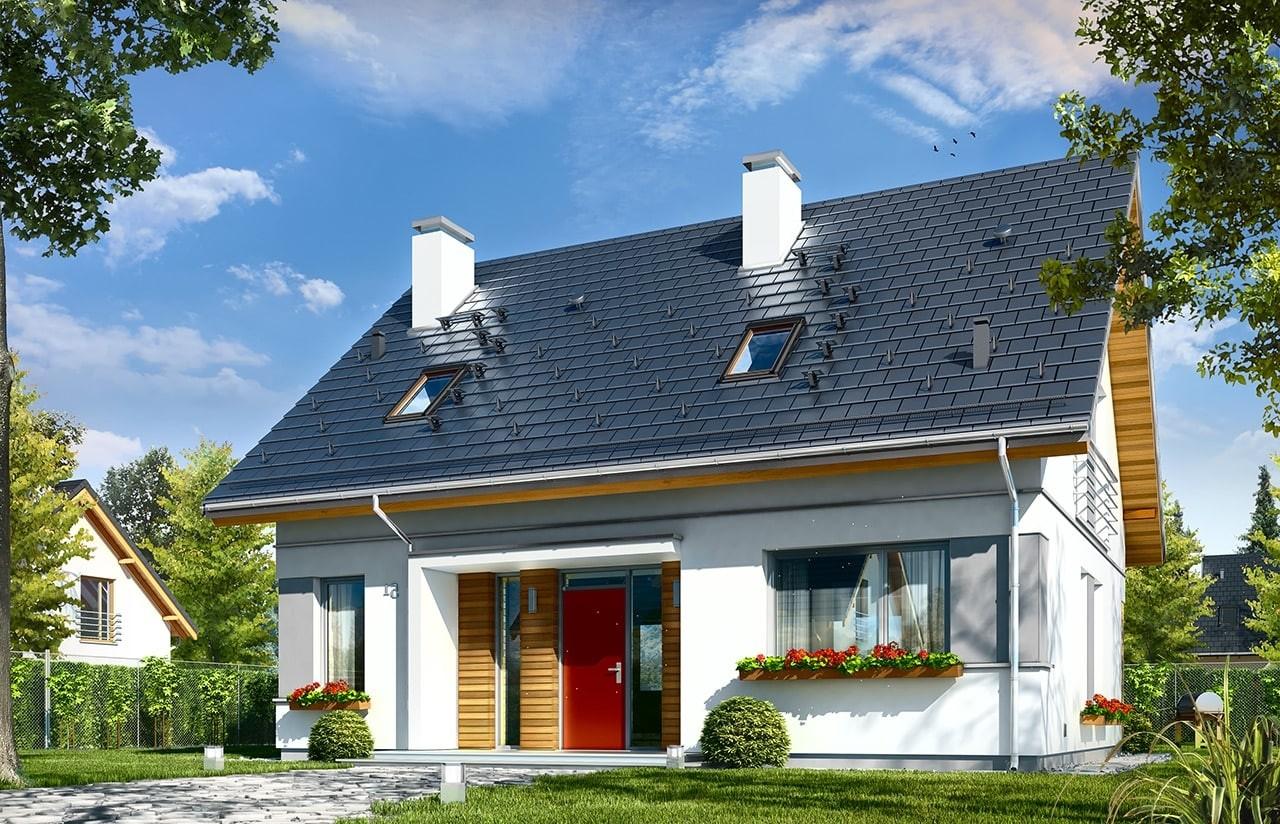 Projekt domu Idealny - wizualizacja frontowa odbicie lustrzane