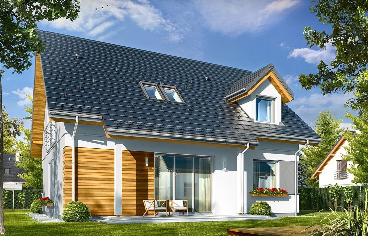 Projekt domu Idealny - wizualizacja tylna odbicie lustrzane