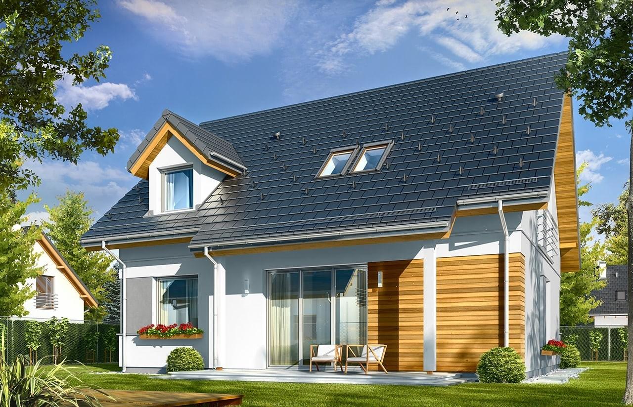 Projekt domu Idealny - wizualizacja tylna