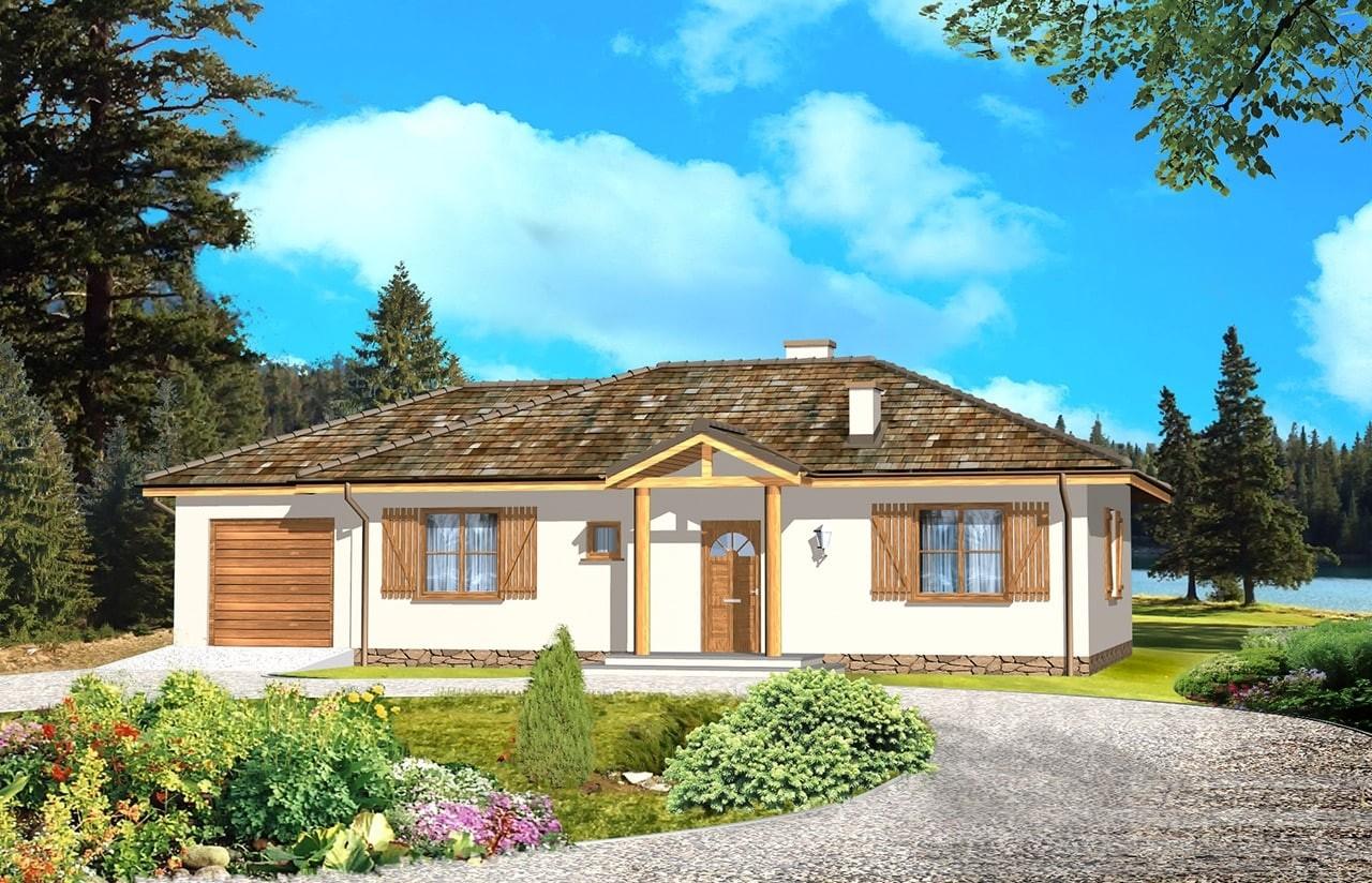Projekt domu Jak marzenie z garażem - wizualizacja frontowa odbicie lustrzane