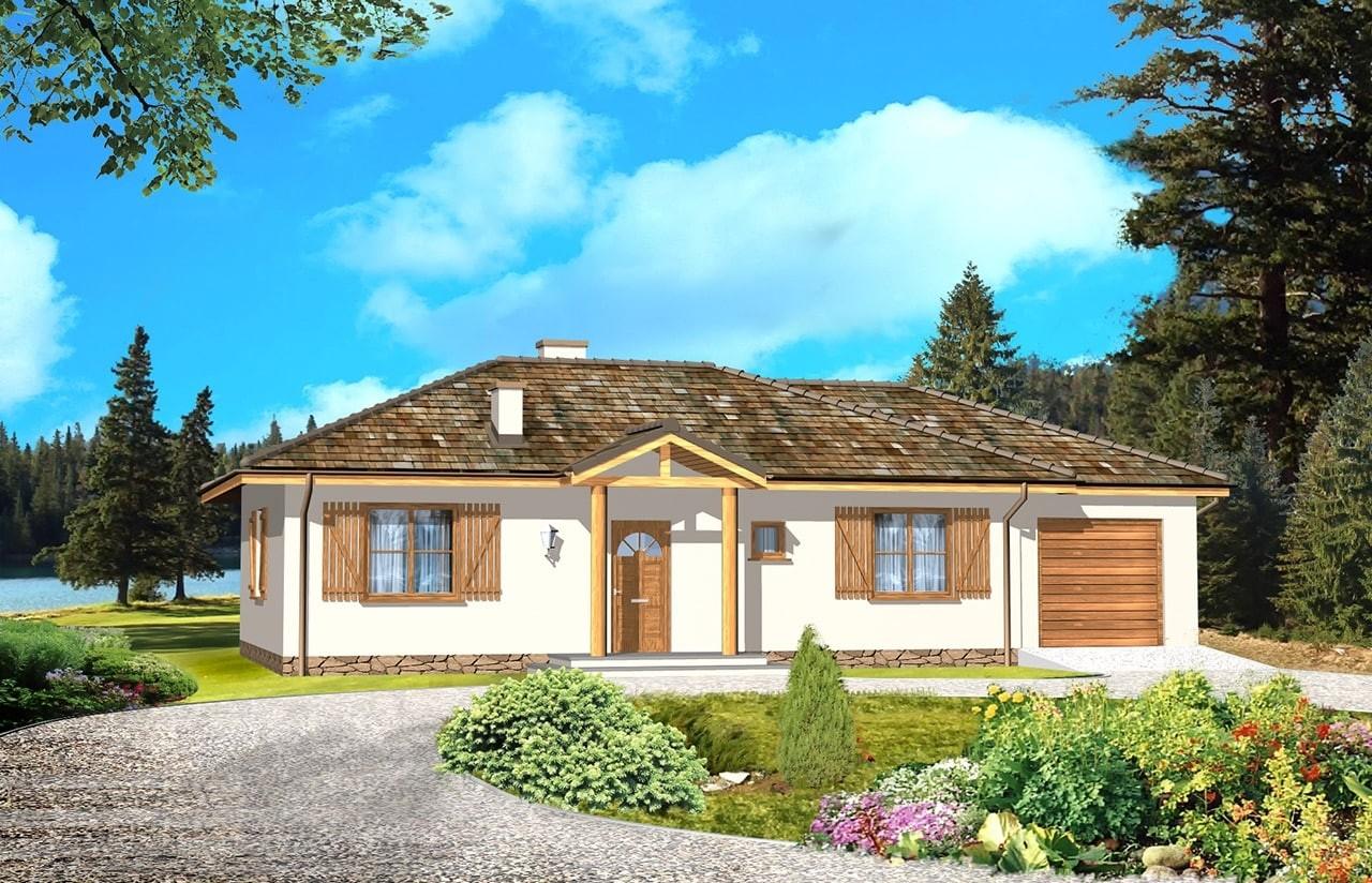 Projekt domu Jak marzenie z garażem - wizualizacja frontowa