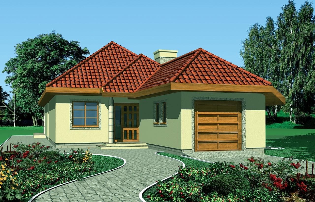 Projekt domu Jamnik 2 - wizualizacja frontowa odbicie lustrzane