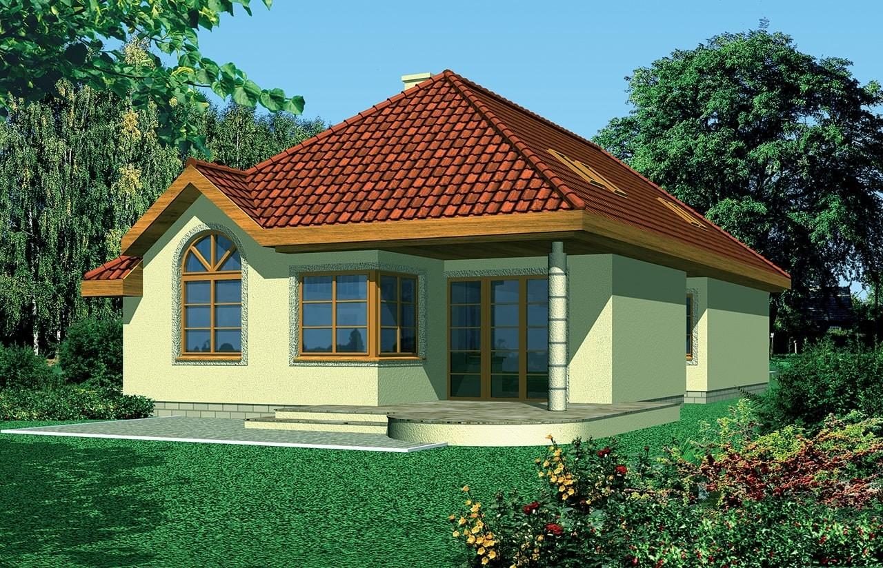Projekt domu Jamnik 2 - wizualizacja tylna odbicie lustrzane