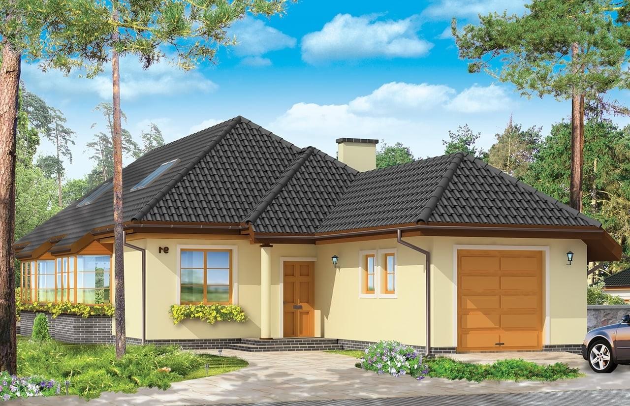 Projekt domu Jamnik 3 - wizualizacja frontowa odbicie lustrzane