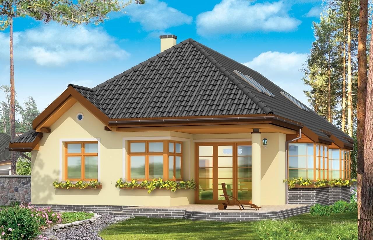 Projekt domu Jamnik 3 - wizualizacja tylna odbicie lustrzane