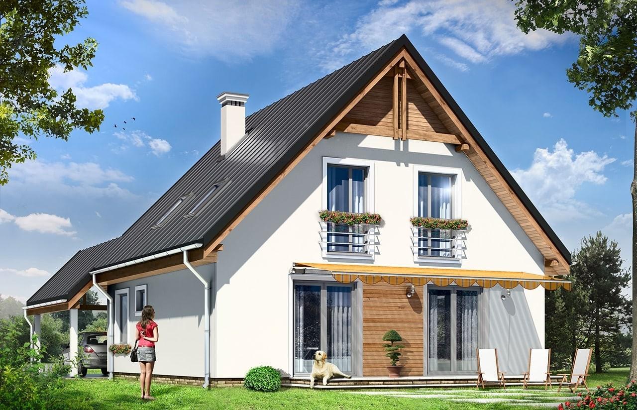 Projekt domu Jaś - wizualizacja tylna odbicie lustrzane