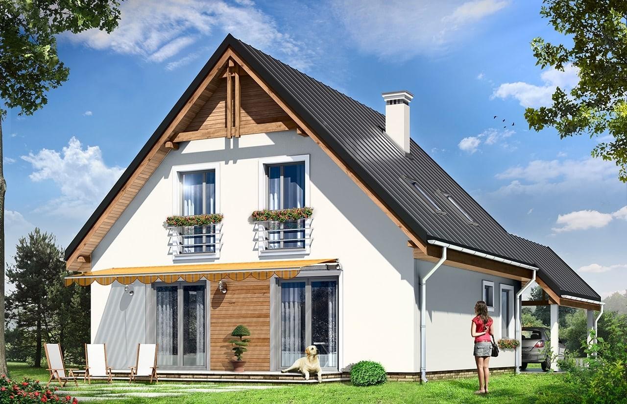 Projekt domu Jaś - wizualizacja tylna