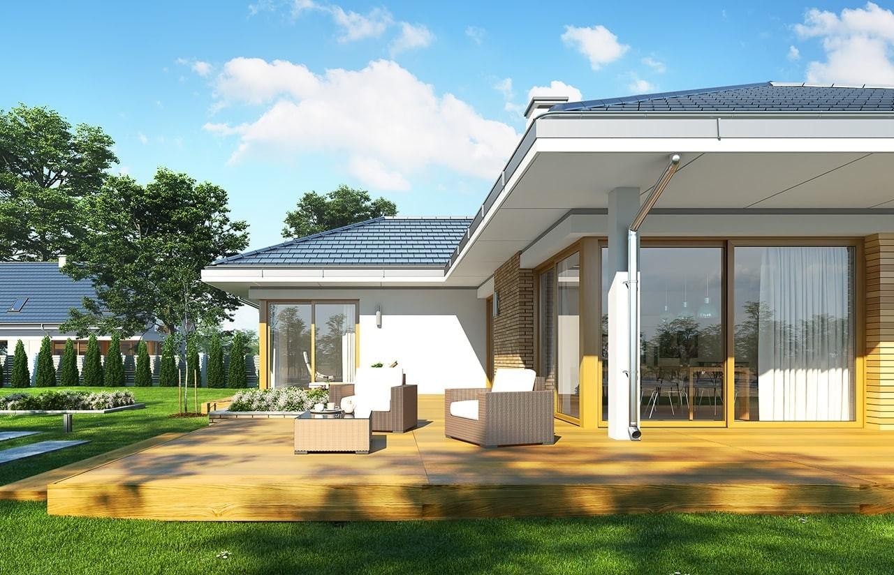 Projekt domu Jedyny - wizualizacja tylna odbicie lustrzane