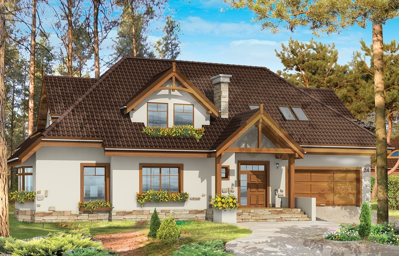Projekt domu Jesion - wizualizacja frontowa