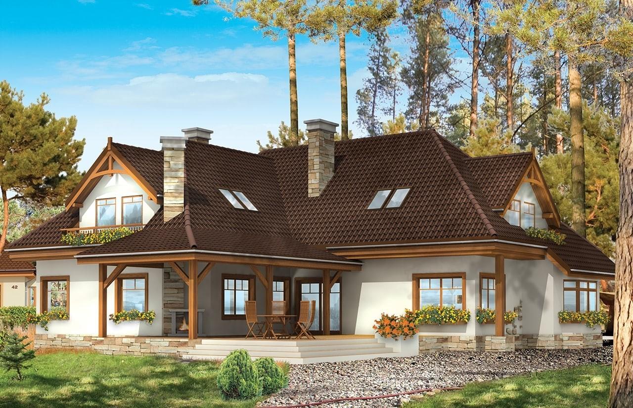 Projekt domu Jesion - wizualizacja tylna