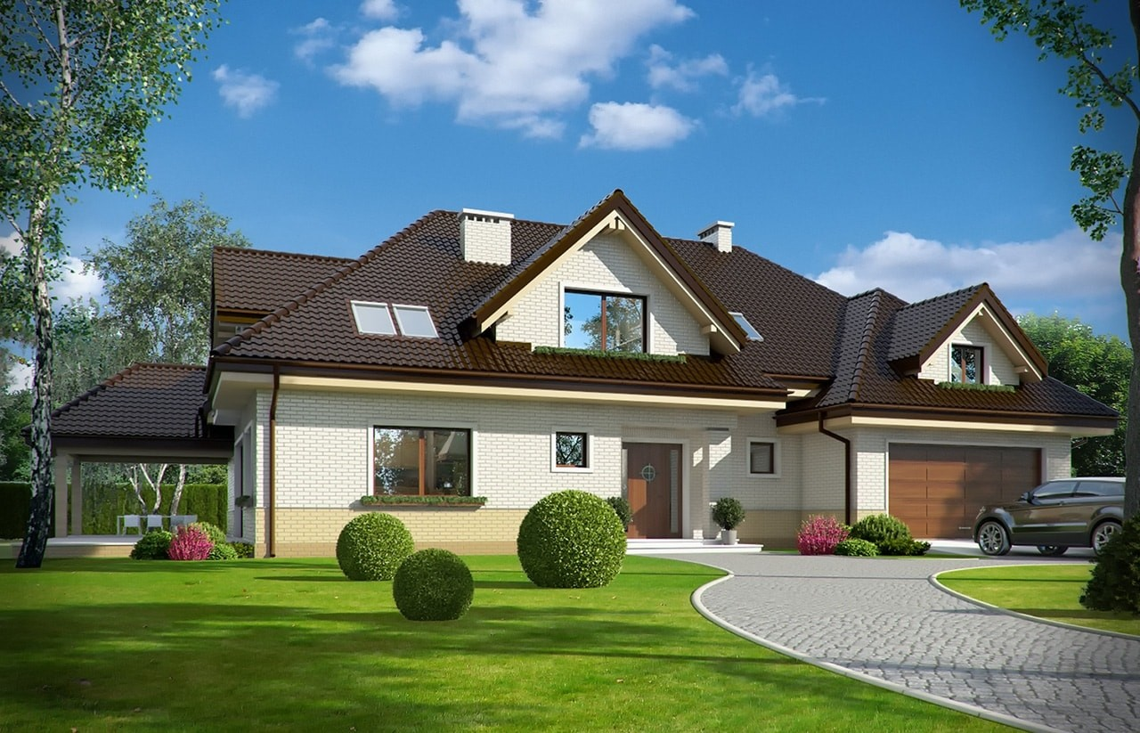 Projekt domu Joanna 2 - wizualizacja frontowa odbicie lustrzane