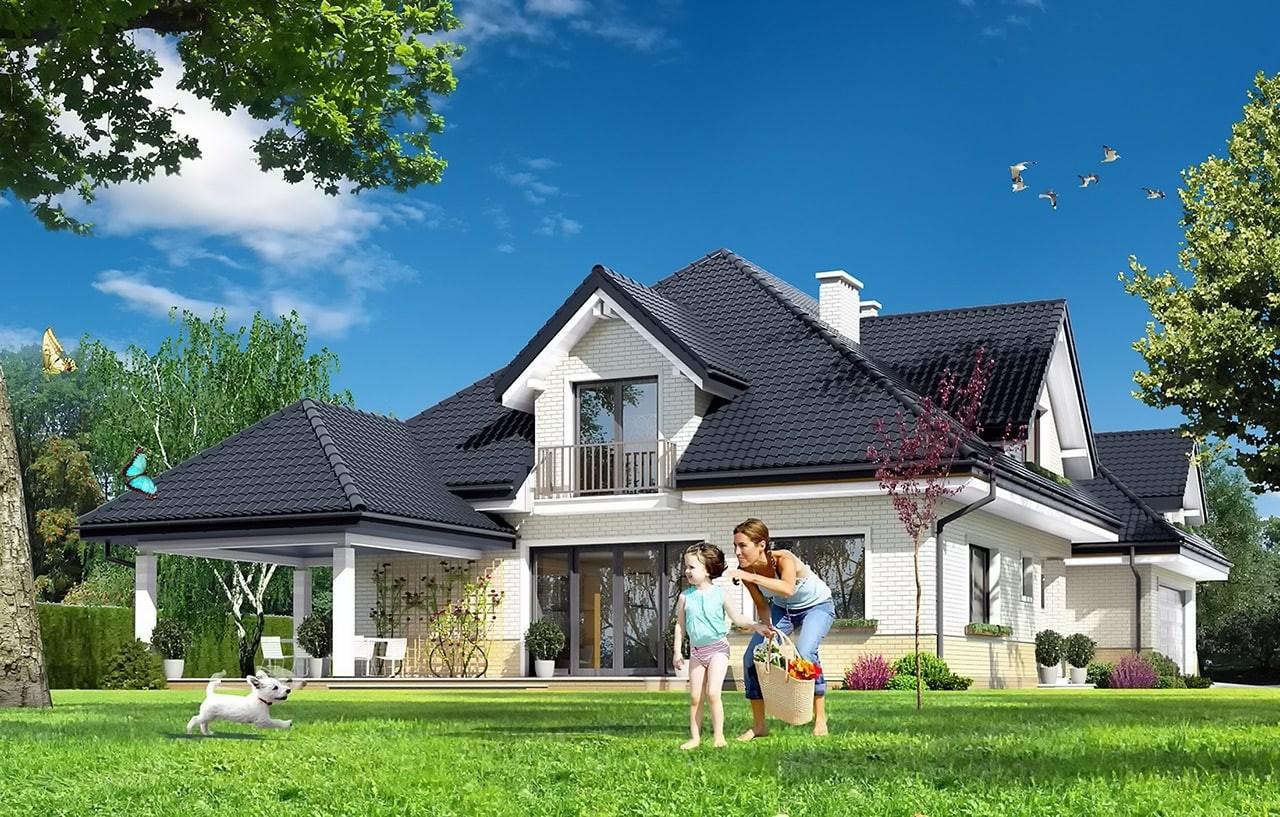 Projekt domu Joanna 2 - wizualizacja tylna odbicie lustrzane