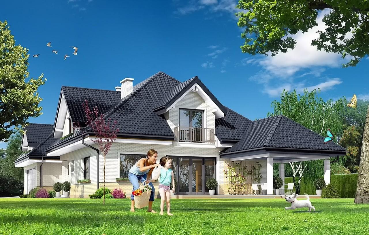Projekt domu Joanna 2 - wizualizacja tylna