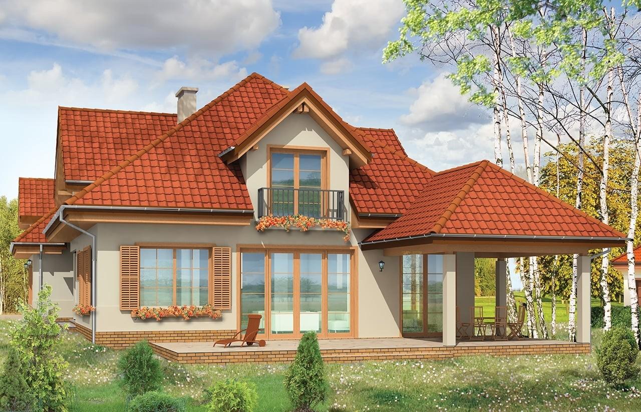 Projekt domu Joanna - wizualizacja tylna