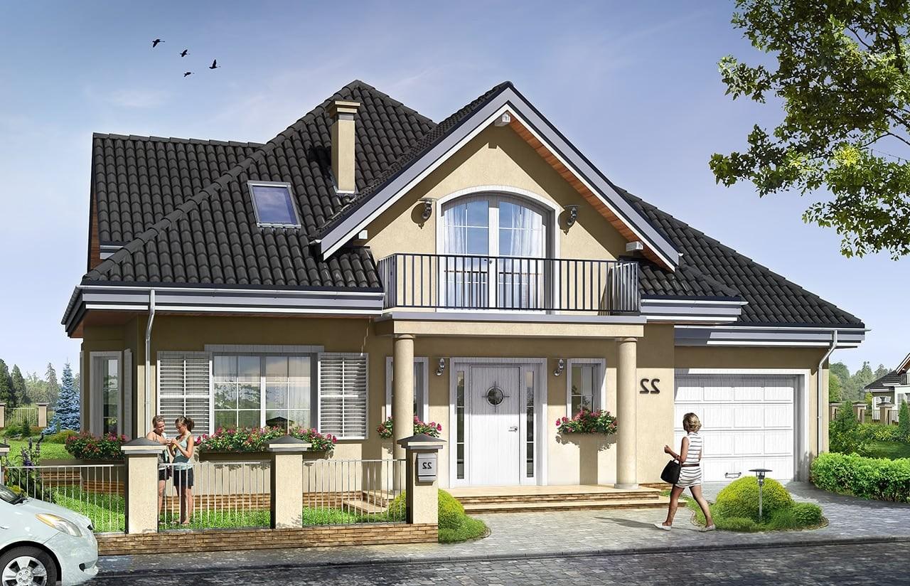 Projekt domu Julka 2 - wizualizacja frontowa odbicie lustrzane