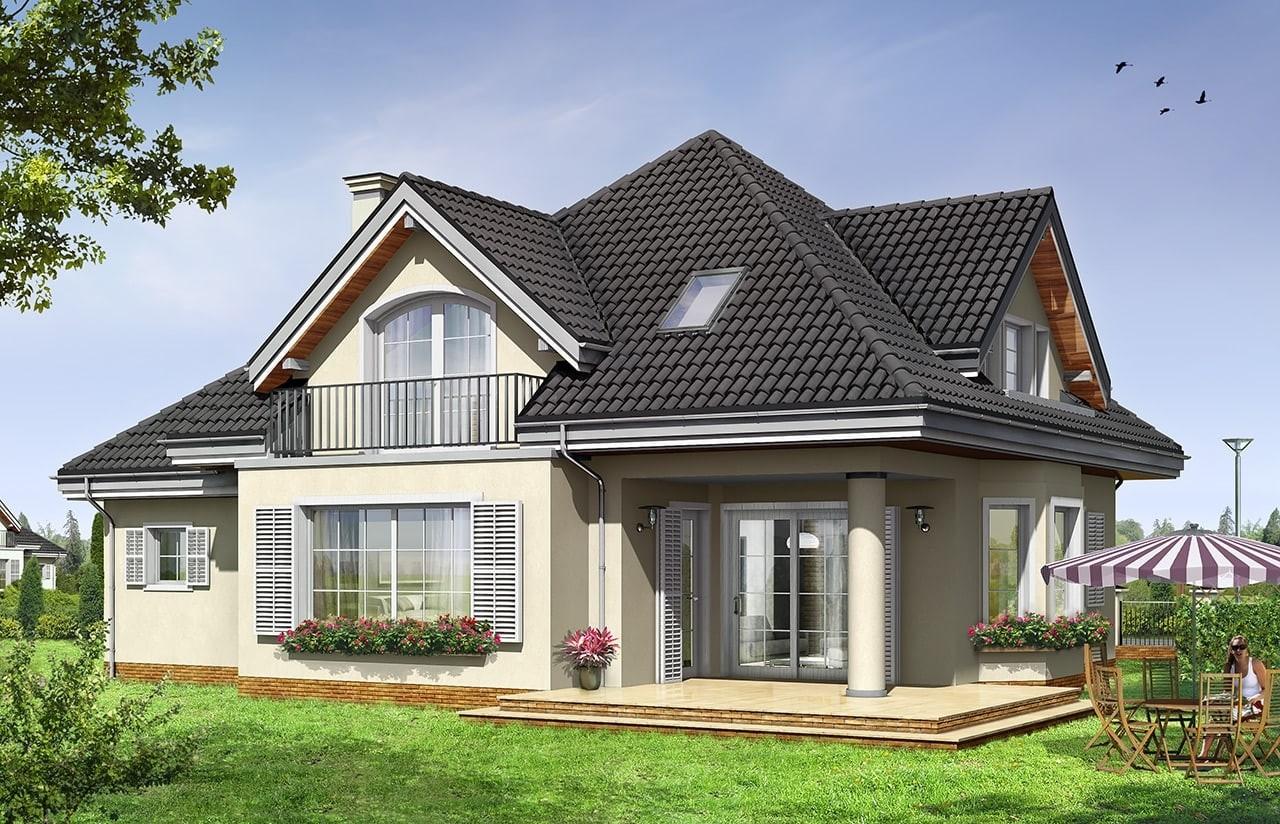 Projekt domu Julka 2 - wizualizacja tylna odbicie lustrzane