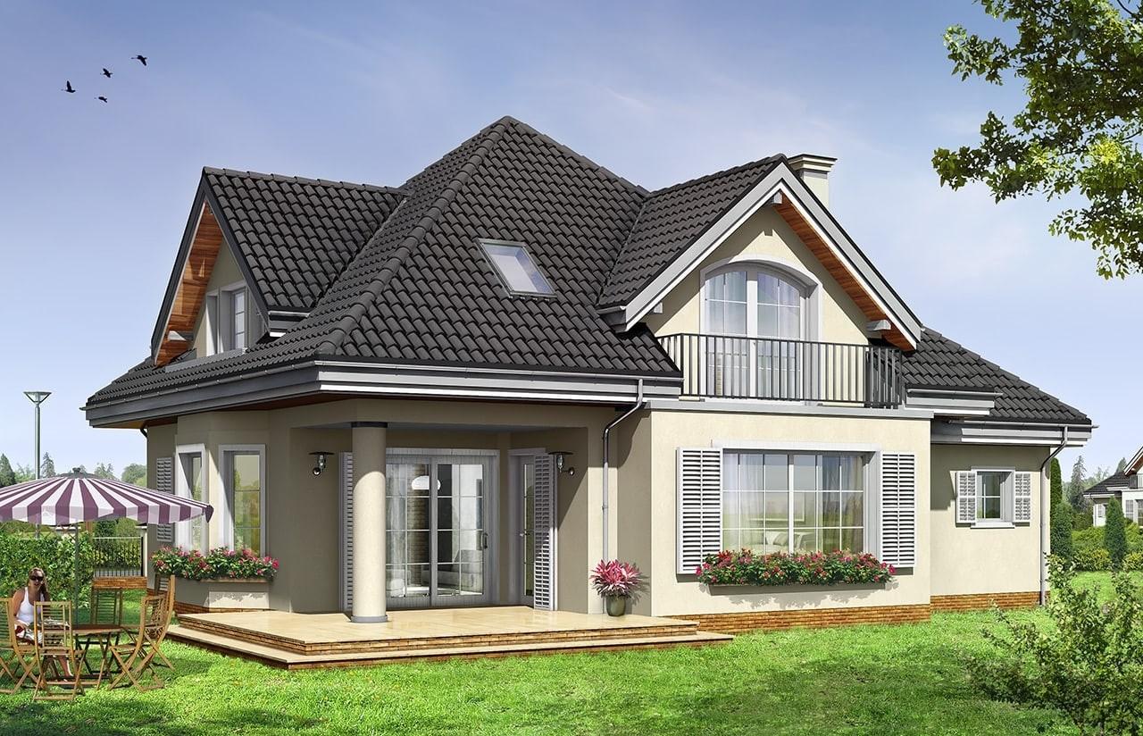 Projekt domu Julka 2 - wizualizacja tylna
