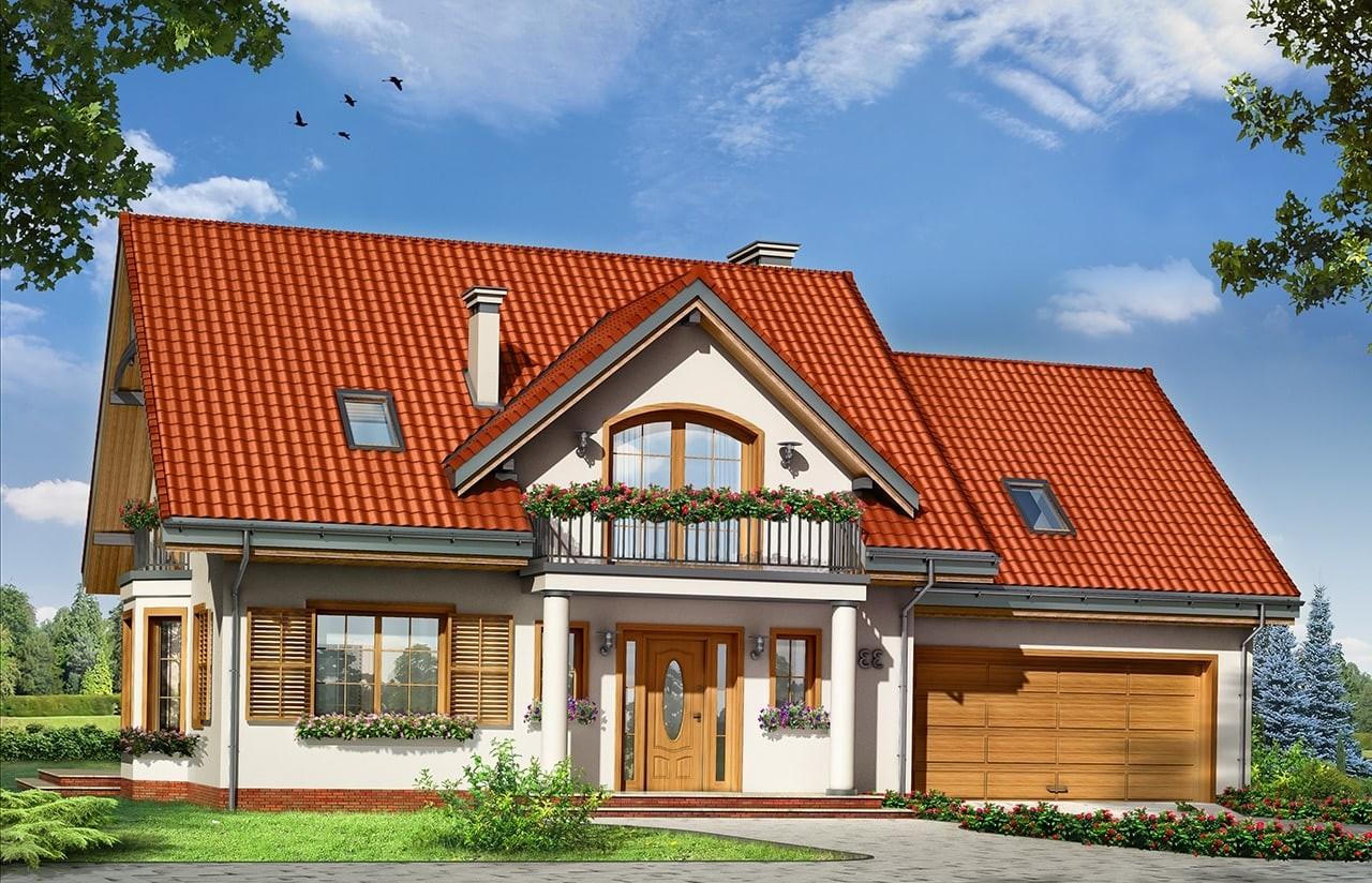 Projekt domu Julka 3 - wizualizacja frontowa odbicie lustrzane