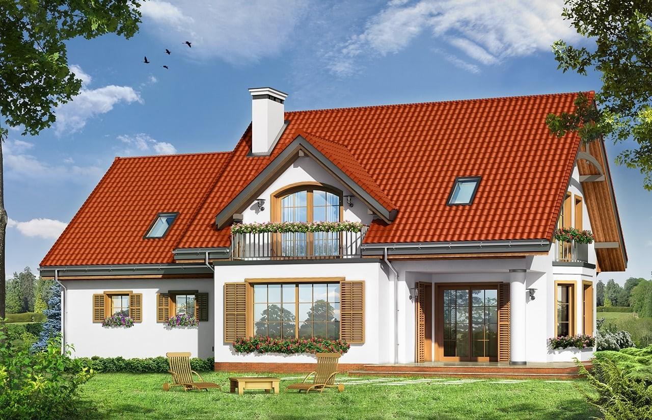 Projekt domu Julka 3 - wizualizacja tylna odbicie lustrzane