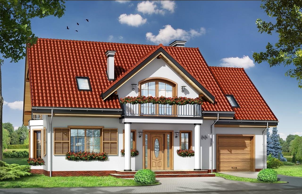 Projekt domu Julka 4 - wizualizacja frontowa odbicie lustrzane