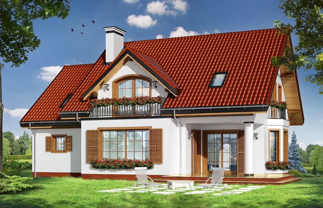Projekt domu Julka 4 - wizualizacja tylna odbicie lustrzane
