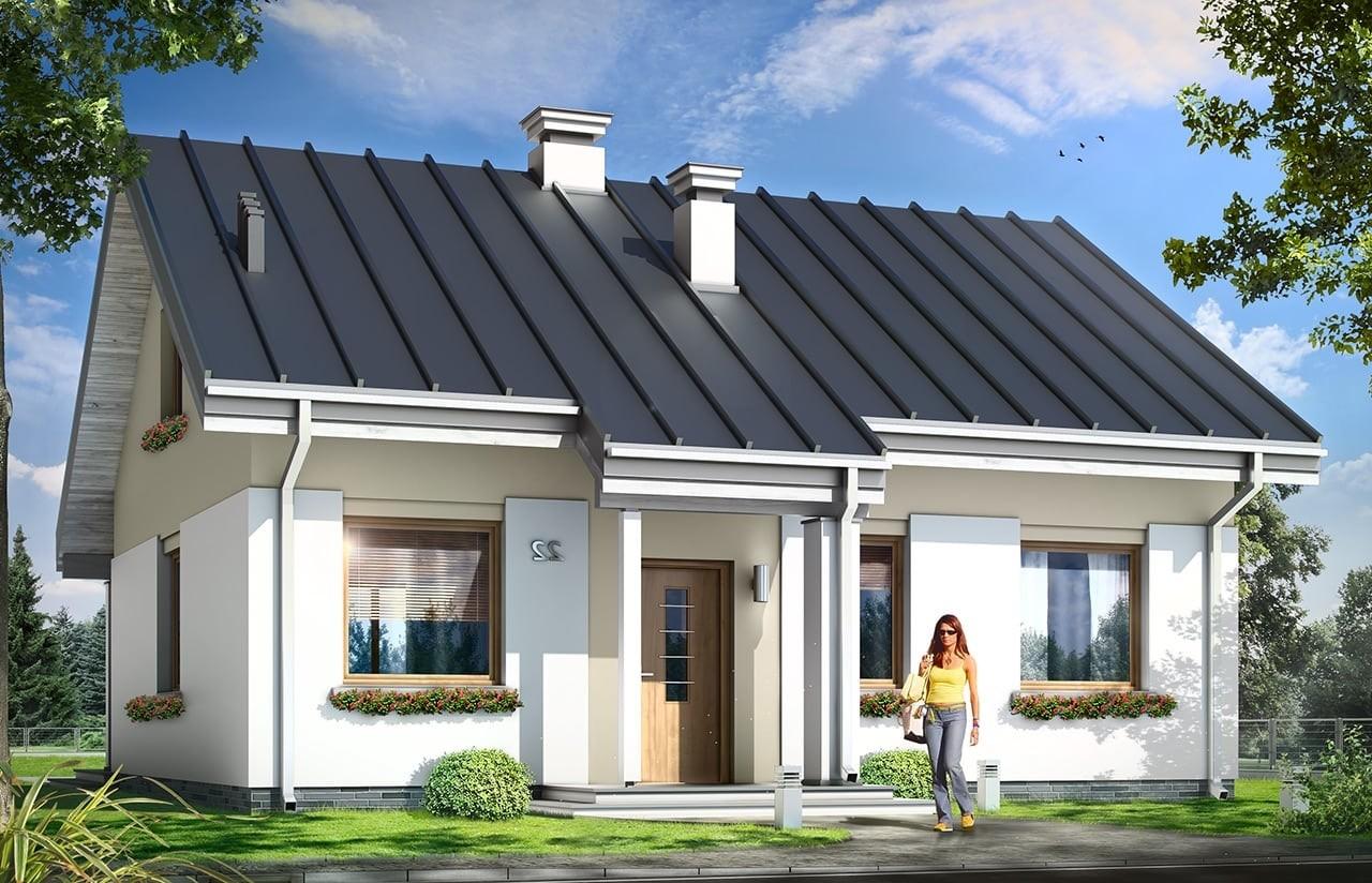 Projekt domu Kajtek - wizualizacja frontowa odbicie lustrzane
