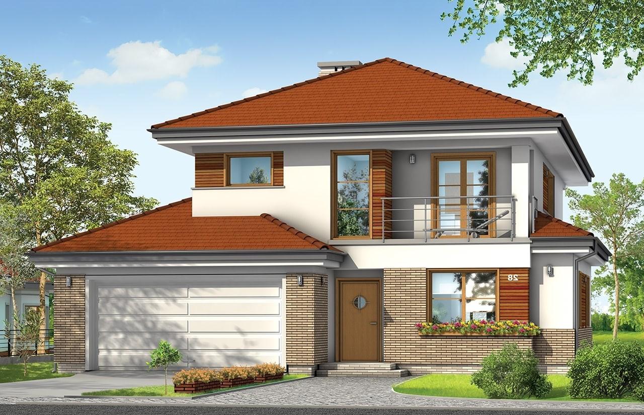 Projekt domu Kasjopea 3 - wizualizacja frontowa odbicie lustrzane