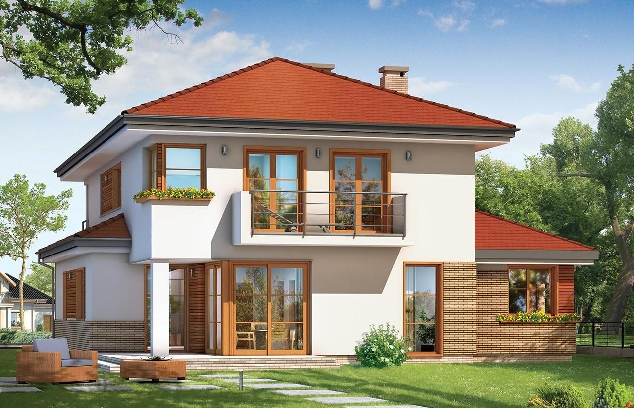 Projekt domu Kasjopea 3 - wizualizacja tylna odbicie lustrzane