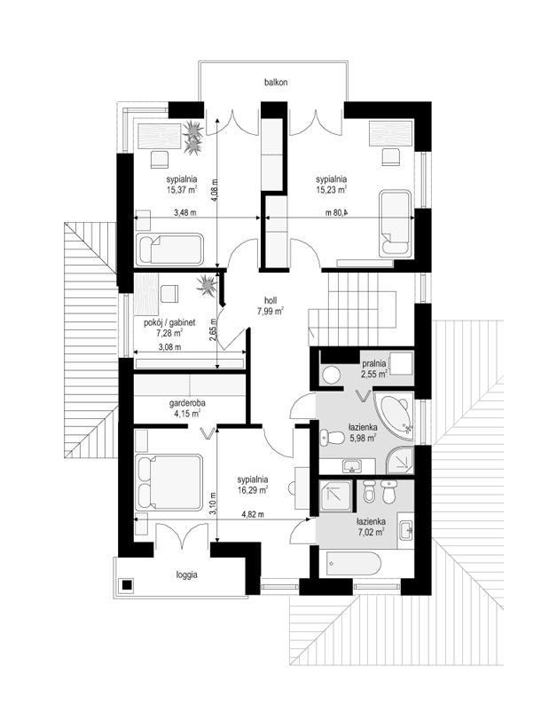 Kasjopea 4 - rzut piętra odbicie lustrzane