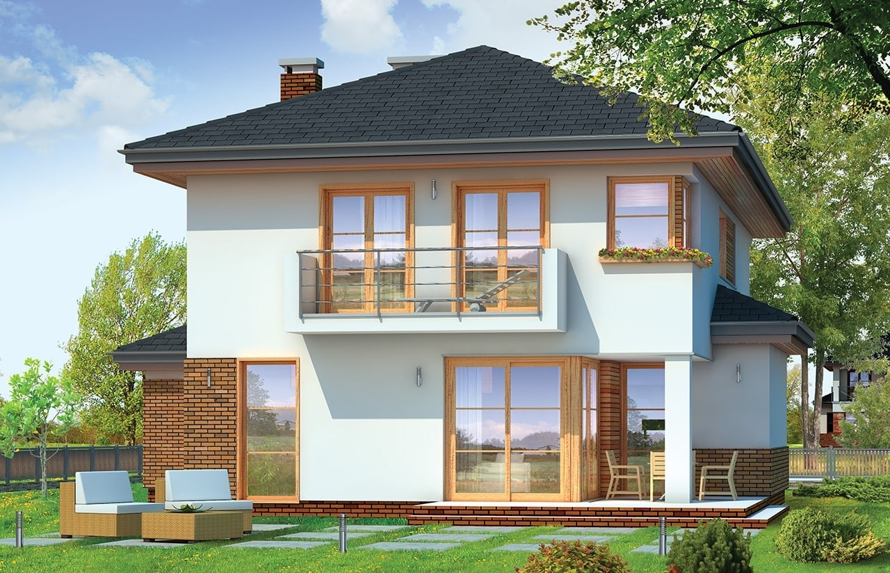 Projekt domu Kasjopea 4 - wizualizacja tylna odbicie lustrzane