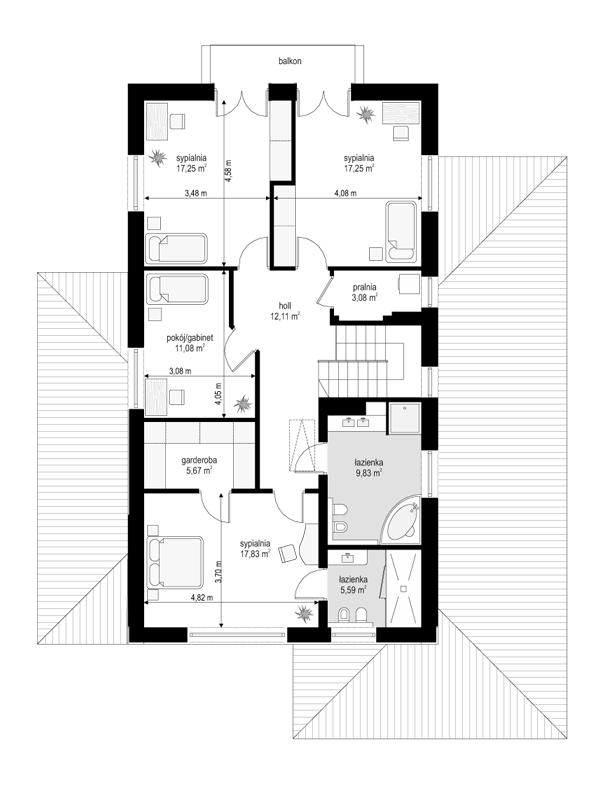 Kasjopea 5 - rzut piętra odbicie lustrzane