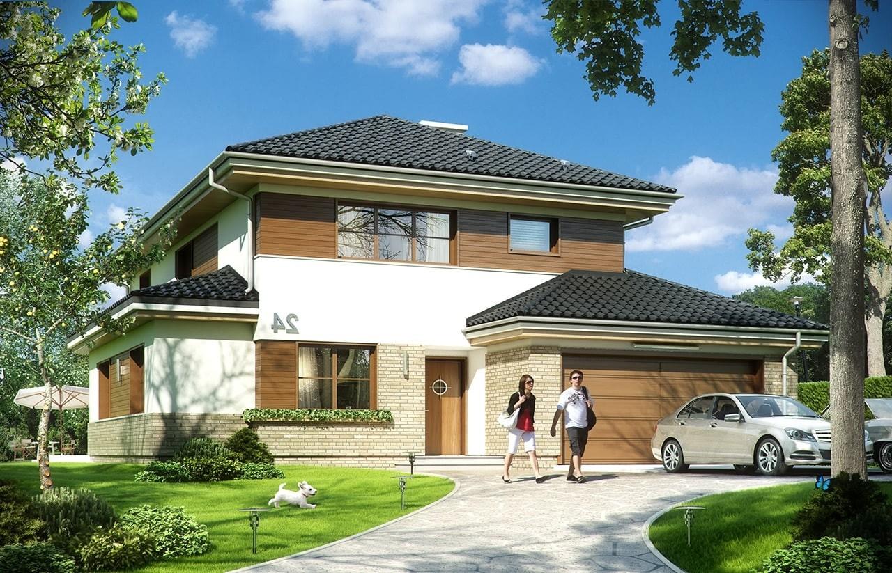 Projekt domu Kasjopea 5 - wizualizacja frontowa odbicie lustrzane